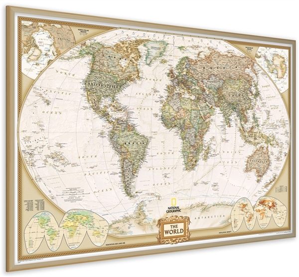 World Pinboard Map NG with Wood FrameWall Maps - Large World Map - pinnable world map