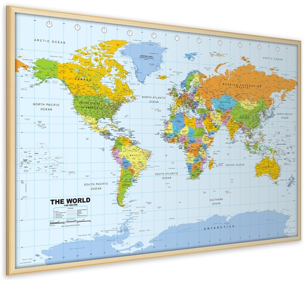 World Pinboard Map with Light Wood Frame - World - Framed Maps - pinnable world map