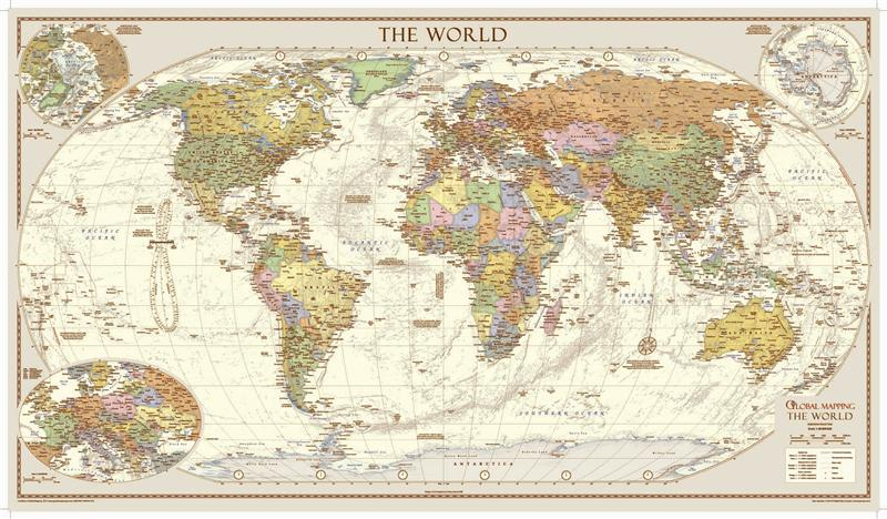 Antique Style World Map Large *Award Winning* from Global Mapping - pinnable world map