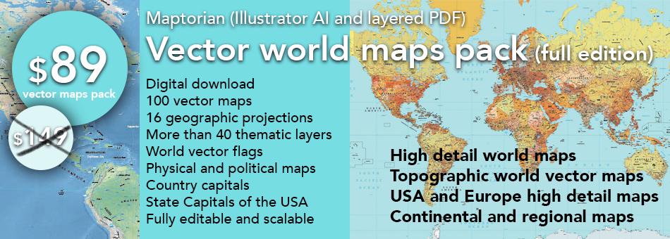 Maptorian \u2013 Vector world maps download editable, layered, royalty