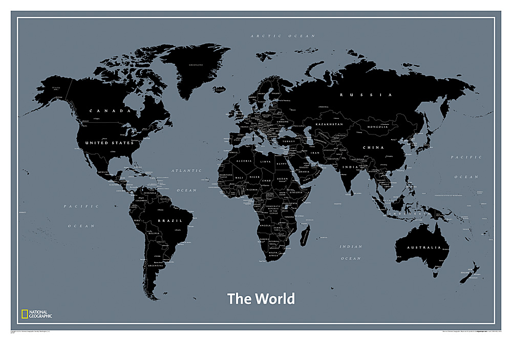 Wall Maps of the World - Black And Grey World Map
