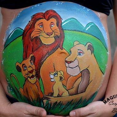 Belly painting familia Rey León