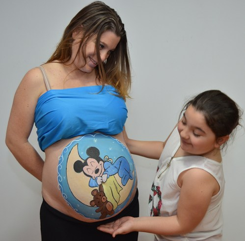 Belly painting Mickey Mouse