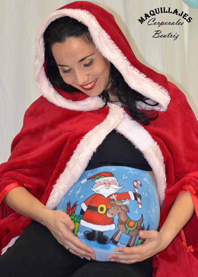 Barriga de embarazada pintada para Navidad