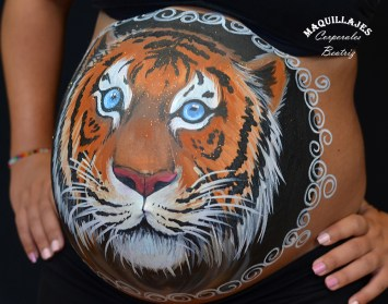 Belly painting tigre 4