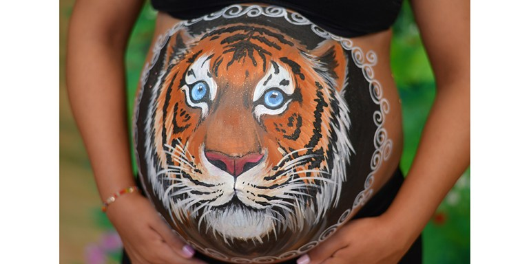 Portada belly painting tigre