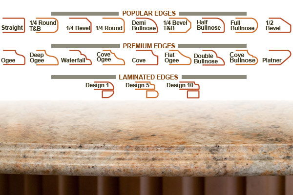 Countertops Edges For Granite, Marble, Onyx, Quartzite, More