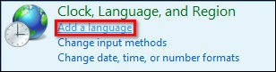 Image of Clock, Language, and Region with Add a Language selected