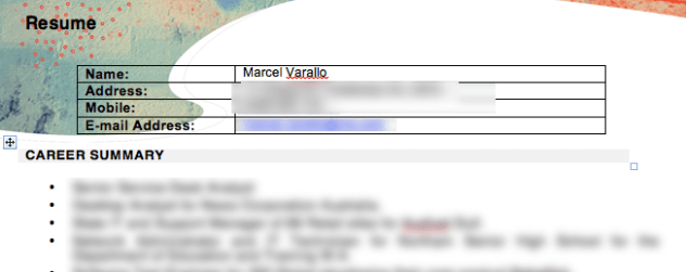 Blurred CV