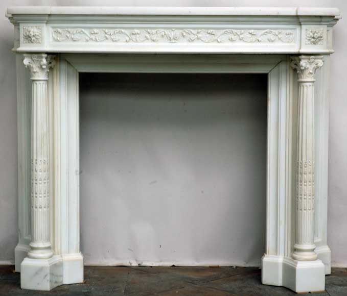 Louis Xvi Style Statuary Marble Carrara Fireplace Mantel