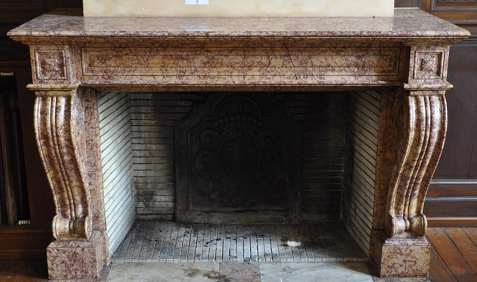 Beautiful Antique Fireplace In Louis Phillipe Style Carved