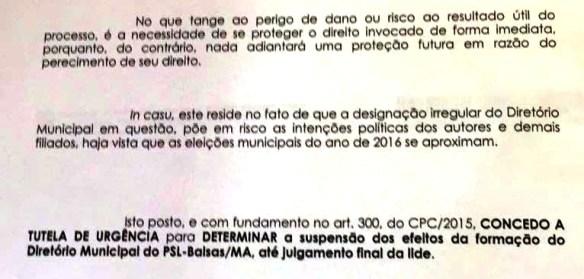 Trecho da decisão do juiz Sidney Cardoso