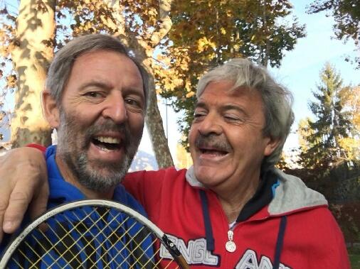 Con l'amico e collega Franz Baruffaldi Preis, dopo una partita di tennis
