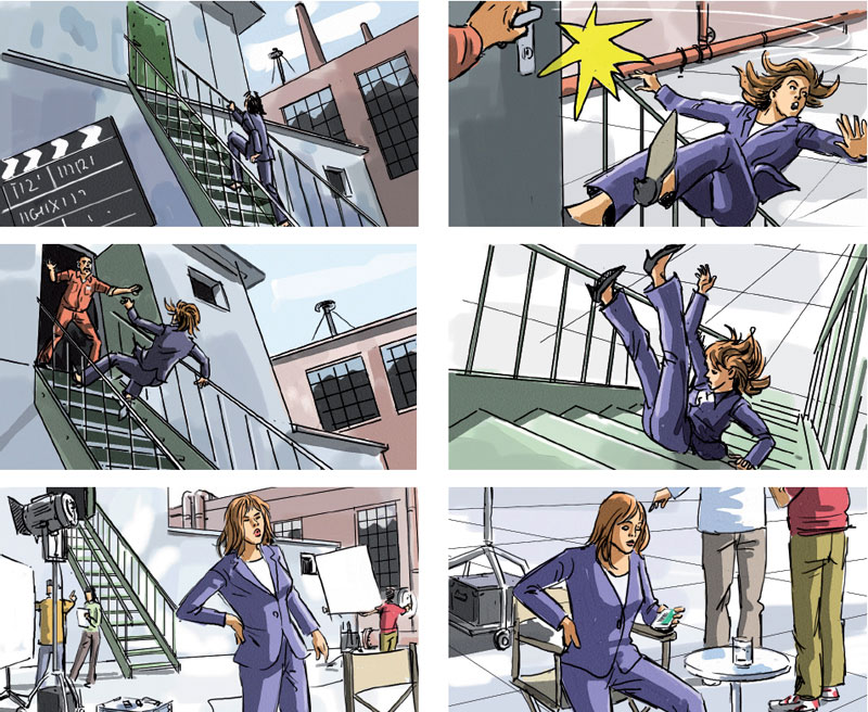 Marco Schaaf, swiss illustrator, creates Storyboard for TV - commercial storyboards