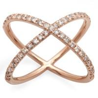 Criss Cross Diamond X Ring on 14K Rose Gold | Marctarian