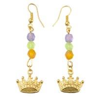 Beaded Mardi Gras Dangling Earrings: Crown [MG42-119A-C ...