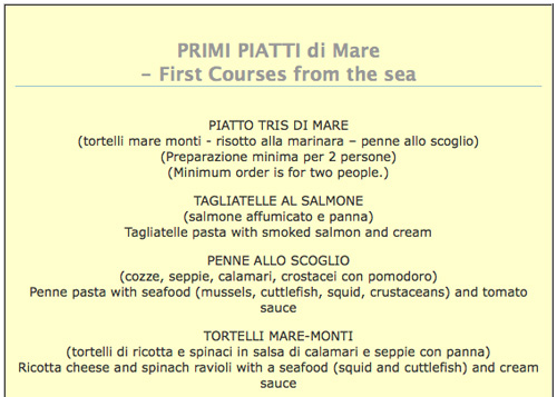 Seafood Menus from Tuscany Italy - italian menu