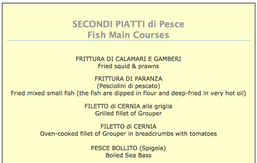 Italian Restaurant Menus Italian Food Menus from Maremma Italy
