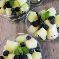 Blueberries and Melon with Honey-Lime Dressing