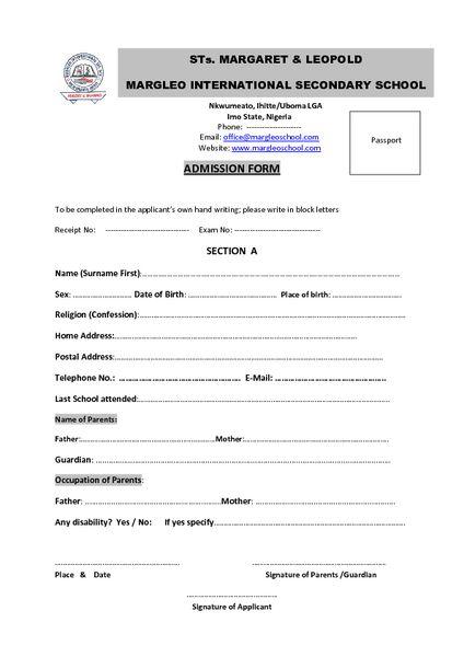 Margleo-School Margleo\u0027s Admission Form for Entrance into JSS 1