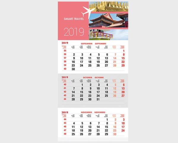 3 month wall calendar Margy Consultants Printing consultancy
