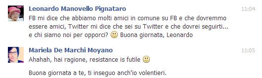 Richiesta di amicizia da Leonardo Marcello Pignataro, traduttore editoriale e di audiovisivi