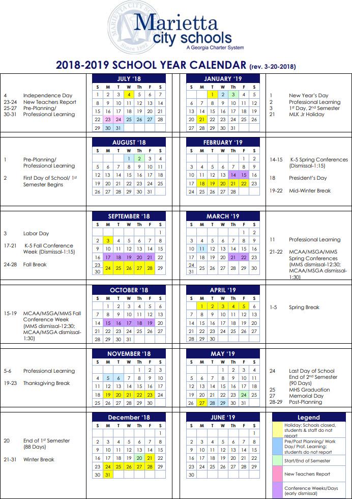 Marietta City School Calendar 2018-2019 Marietta