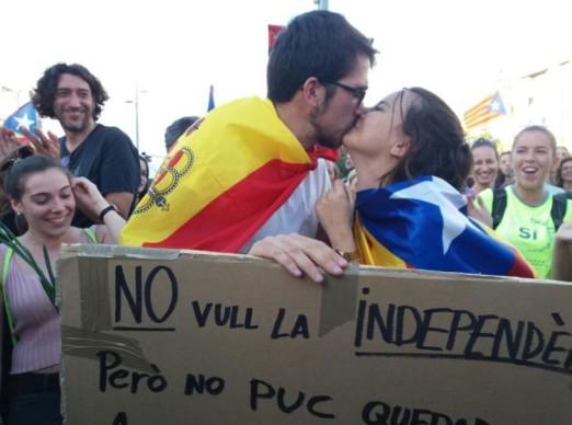 parella independentista españolista girona 3 octubre
