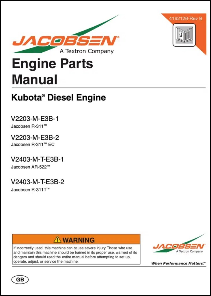 Kubota Diesel Engine V2203-M-E3B-1 Parts Manual - MARINE DIESEL BASICS
