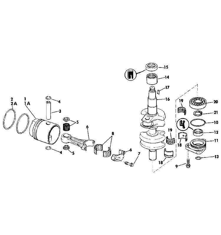 Evinrude Crankshaft  Piston Parts for 1988 30hp E30RCCE Outboard Motor