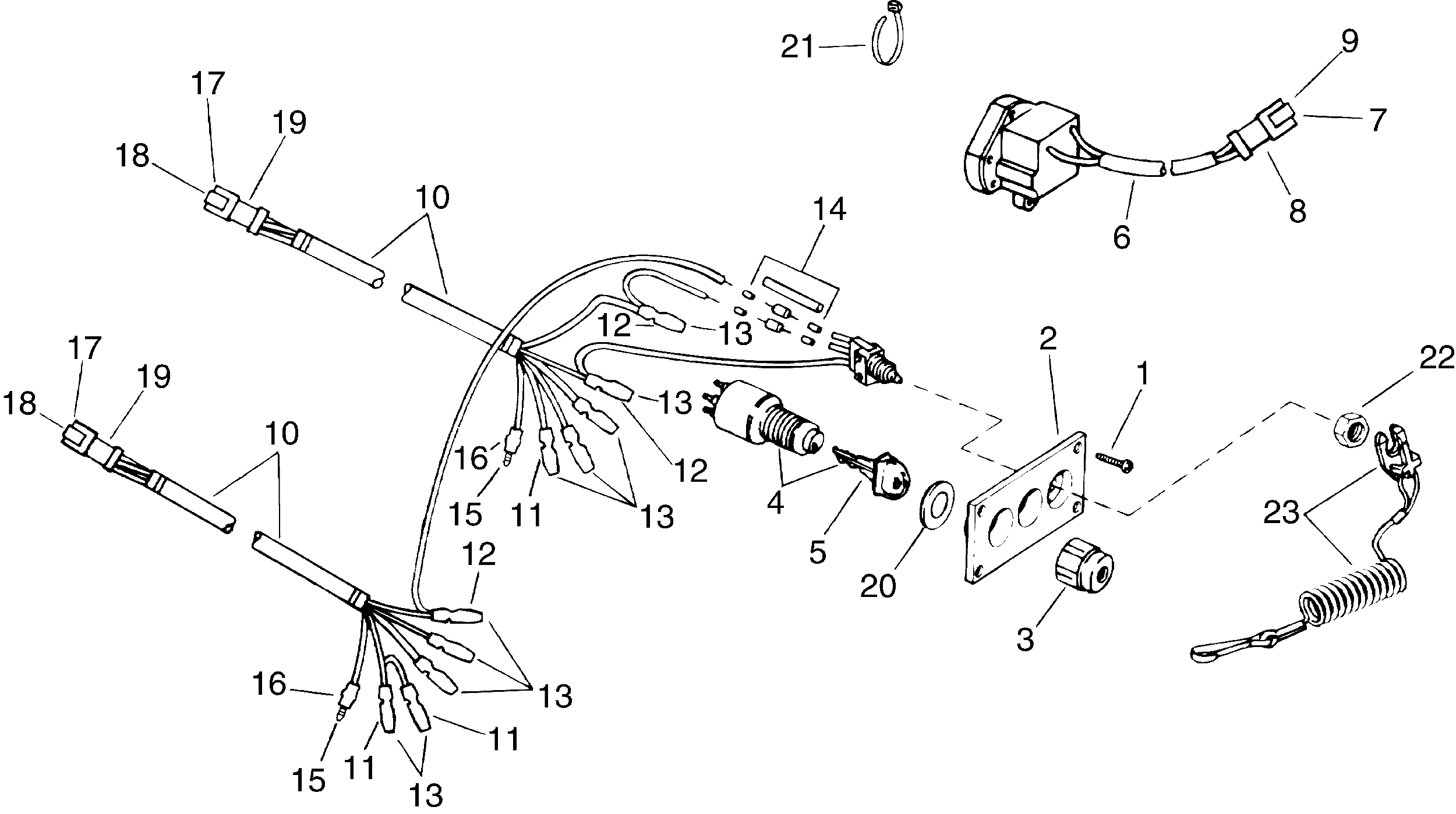 evinrude outboard ignition switch diagram