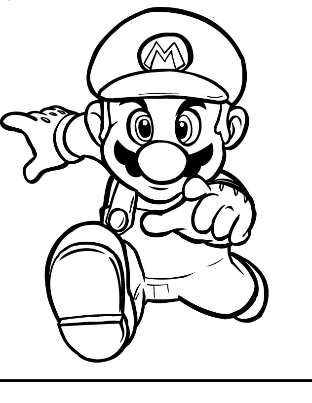 Mario Coloring pages - Black and white super Mario drawings for you - mario coloring pages