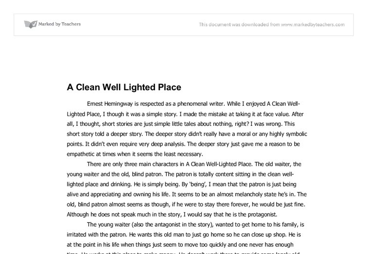 a clean well-lighted place essays