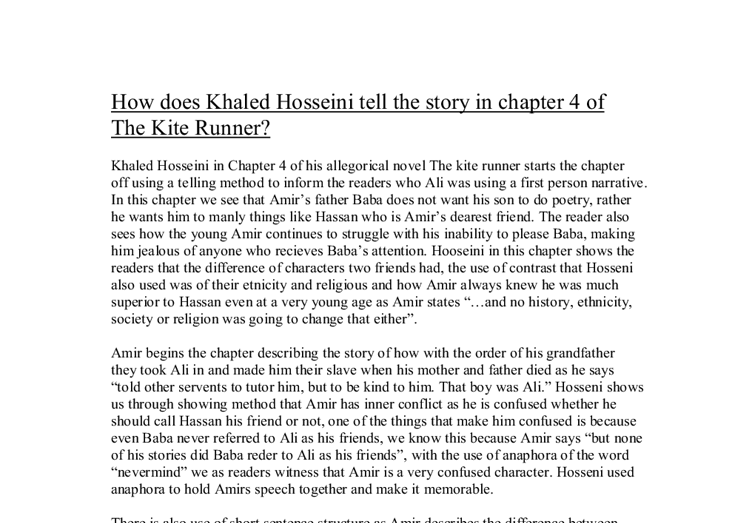 the kite runner essay thesis