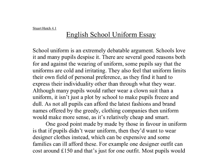 school uniforms debate essay
