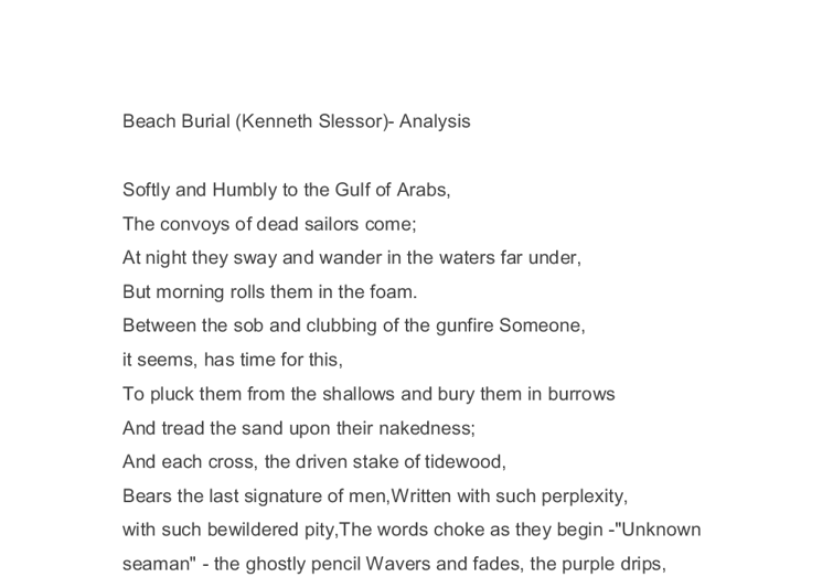 beach burial essay