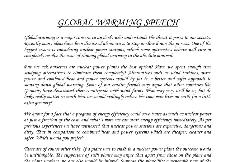 a strong thesis statement on global warming