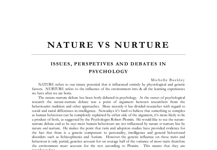 violence nature vs nurture essay Violence: nature or nurture i found your post violence,nature vs nurture and it is intriguing because i am also dear raleek i am happy about you essay.