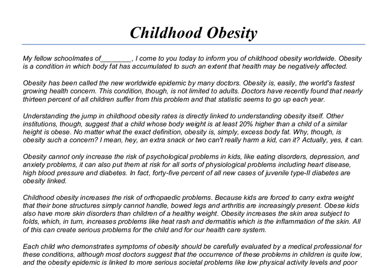 education and obesity essay Education and obesity and contribute to understand the nature of such relationship and its implications for health and education policy the empirical analyses on education and obesity undertaken by the oecd focus on four countries: australia, canada, england and.