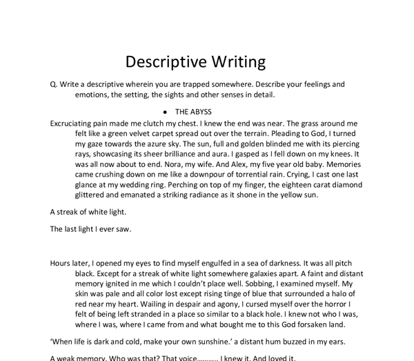 description of essay