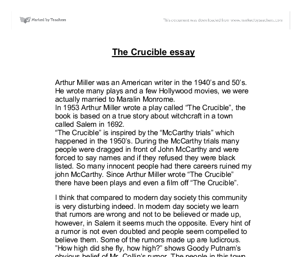 research paper thesis the crucible The crucible theme - reputation this book/movie report the crucible theme - reputation and other 64,000+ term papers, college essay examples and free essays are available now on reviewessayscom autor: review • february 23, 2011 • book/movie report • 836 words (4 pages) • 1,587 views.