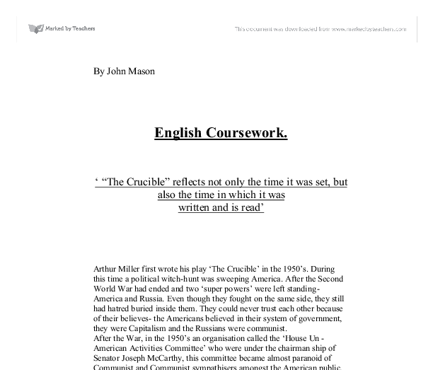 analytical essay of the crucible Here is a resource parcel for your senior students aimed at giving them extensive practical help in responding in essay form to the characters and themes of arthur miller's the crucible.