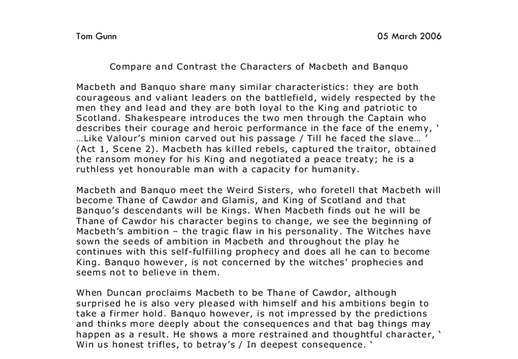 compare and contrasting characters in macbeth essay