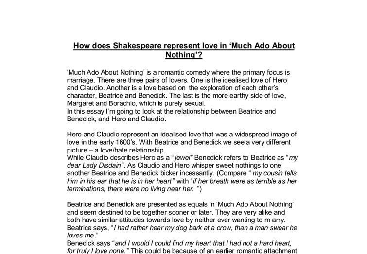 much ado about nothing shakespear essay Much ado about nothing includes two quite and phrases an introduction to reading shakespeare's language an essay by a leading shakespeare scholar.