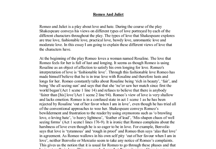 Love And Hate Essay On Romeo And Juliet