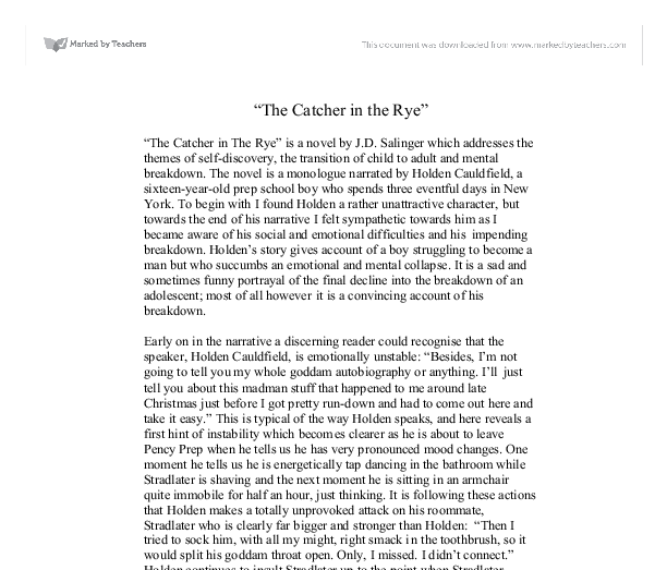 Catcher in the rye essays