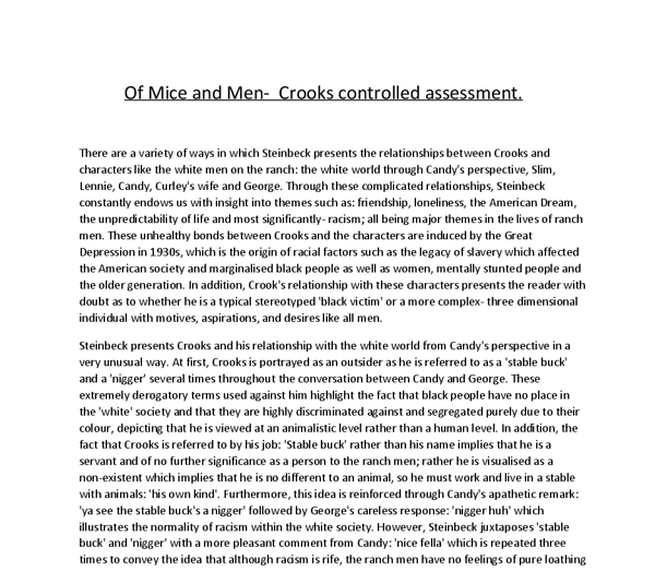 of mice and men and the great depression essay