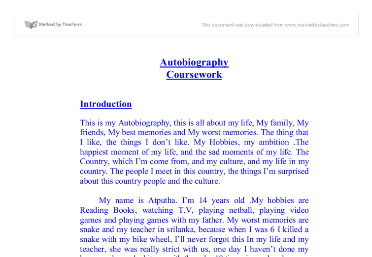 my life story essay for students Unlike a memoir which usually focuses on a pivotal life moment or two, an autobiography attempts to tell an entire life story it's easy to understand, then, why college students often consider the.