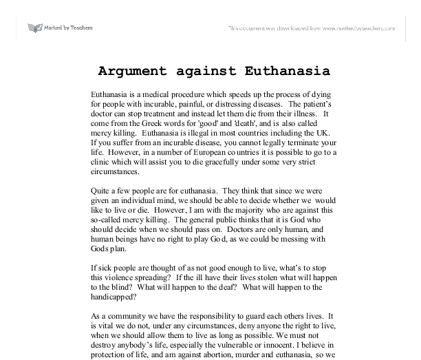 Professional essays on euthanasia