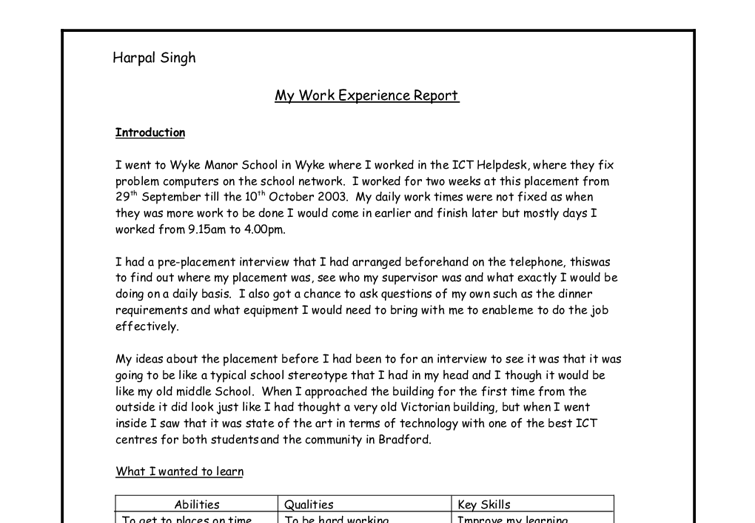 My Work Experience Report Gcse Work Experience Reports